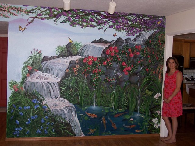 Mural: Nature Scene with Artist, Acrylic on wall