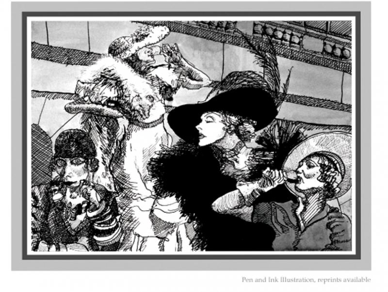 "Illustration: ""Ladies Drinking"" Pen and Ink"